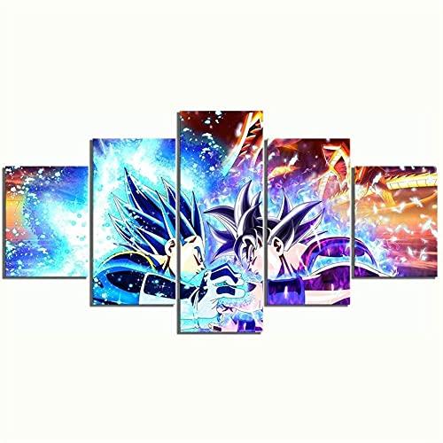 Puzzle Recuerdos Deportivos Enmarcado 5 Pieza Impresión sobre Lienzo Artística Pintura Diseño Naturaleza Cuadro Tamaño-150 * 80Cm-Ultra-Instinto Goku Dragon Ball Super