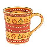 Global Crafts Encantada Handmade Hand-Painted Authentic Mexican Pottery, Coffee Mug, Mas Red (MC299MR)