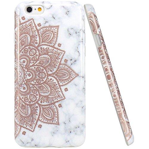 JIAXIUFEN iPhone 6 Funda, Funda de Silicona Suave Case Cover Protección Cáscara Soft Gel TPU Carcasa Funda para Apple iPhone 6 6S - Shiny Rose Gold Mandala Flower Mármol Diseño
