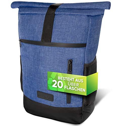 invilus ® - NEU - Rolltop Rucksack Damen und Herren aus Recycelten Plastikflaschen | Rucksack Uni | Laptop Rucksack | Tagesrucksack Damen | Rucksack Schule | Fahrradrucksack | Rucksack Jeans Optik