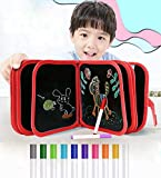 Kid Erasable Drawing Doodle Board Writing Toys, Reusable Coloring Pad Painting Book 14 Pages 8 Inches with 12 Pens for Early Learning Supplies
