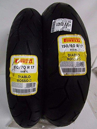 Paire Pneu pneus Pirelli Diablo Rouge II 150/60R17 66H 110/70R17 54H