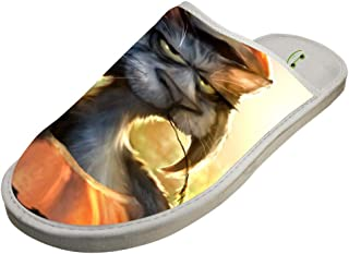 Indoor Cotton Shoes,Pumpkin Lantern and Grumpy Cat 3D Printed Comfortable and Soft House Slippers