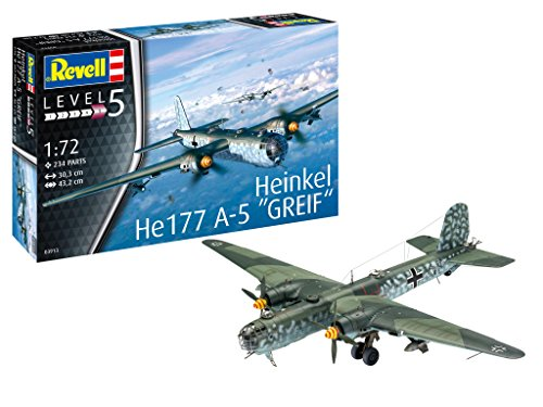 Revell 03913 Heinkel He177 A-5 Greif 14 Modellbausatz im Maßstab 1:72 Level 5orginalgetreue Nachbildung mit vielen Details, Multicolour