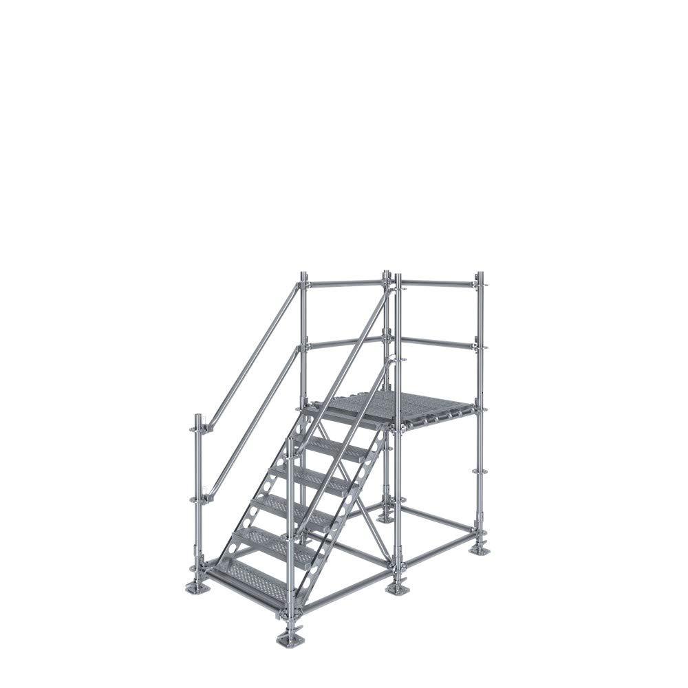 Scafom-rux - Escalera de construcción (para 1 m de diferencia de altura, con pedestal, acero galvanizado): Amazon.es: Bricolaje y herramientas