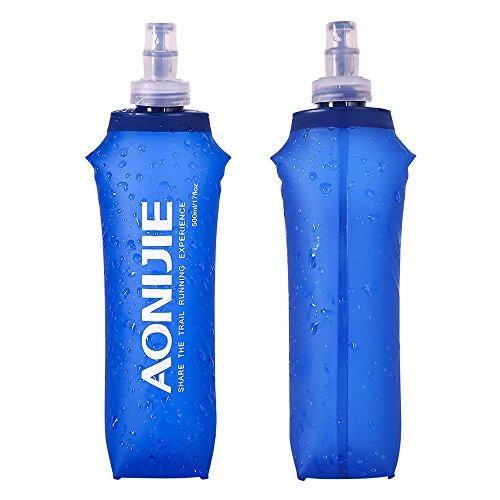 Docooler Botella de Agua Plegable de PVC Suave Deportiva BPA Corriente Eléctrica Suave Senderismo Flask Botella de Hidratación, 250ML/500ML (500ML)
