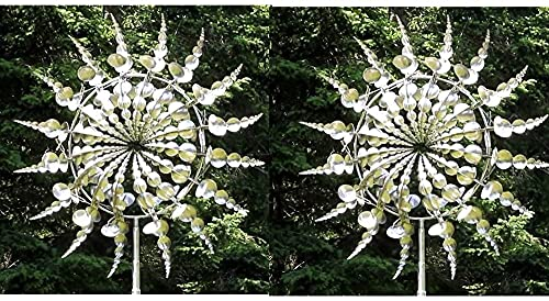 Unique and Magical Metal Windmill Metal Garden Decoration Kinetic Metal Wind Spinners Solar Wind Spinner Catcher Garden Terrace Halloween Christmas Holiday Decoration Lawn Decoration Wind Sculpture
