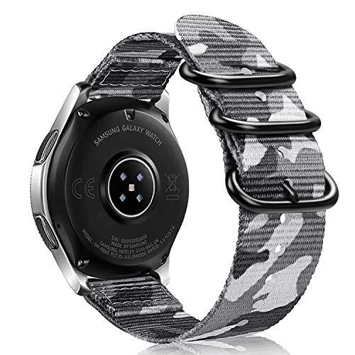 Fintie Correa Compatible con Samsung Galaxy Watch 46mm/Gear S3 Classic/Gear S3 Frontier/Huawei Watch GT - Pulsera de Repuesto de Nylon Tejido Banda Ajustable con Hebilla de Metal, Camuflaje Gris