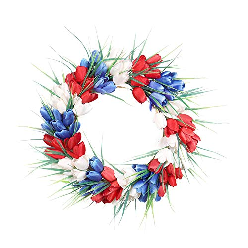 Fenteer Tulip Wreaths Greenery Patriotic Floral Crafts Independence Day Artificial Garland Silk Flower Memorial Day Front Door Wall Party Centerpieces