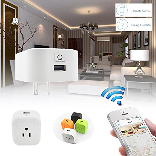 Azpen Wifi Smart Plug Echo,Remote Control Timer Timing Switch WiFi Smart Power Socket Outlet Control your Devices from Anywhere,US Plug