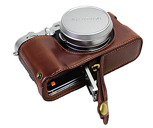 Bottom Opening Version Protective PU Leather Half Camera Case Bag for Fujifilm x100f with Hand Strap Dark Brown