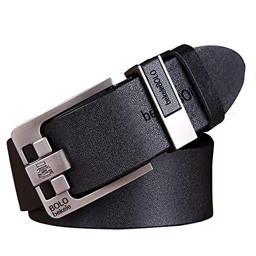 Cinturón De Hombre, Hebilla Ajustable, Cinturón De Cuero Informal Ancho 3.5 Cm, Longitud 105-125 Cm Negro, para Cinturón De Traje De Jeans para Hombres