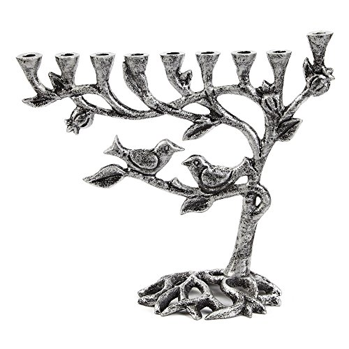Ner Mitzvah Vintage Aluminum Candle Menorah - Fits All Standard Chanukah Candles - Tree of Life Design with Antique Silver Finish