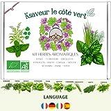 Ksaveur - Kit listo para cultivar - Semillas de hierbas aromáticas para plantar (albahaca, cilantro, cebollino, estragón, eneldo, perifollo, menta, romero, perejil, tomillo) Jardinería 100% ecológica