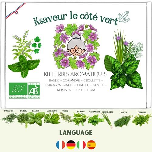 Ksaveur - Kit listo para cultivar - Semillas de hierbas aromáticas para plantar (albahaca, cilantro, cebollino, estragón, eneldo, perifollo, menta, romero, perejil, tomillo)...