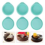 6-Pack Silicone Cake Molds 4 Inch Round Silicone Cake Pans Green Baking Pan Set Silicone Baking Mold DIY Rainbow Cakes and Round Resin Coaster Molds, 0.8 Inch Deep (Green)