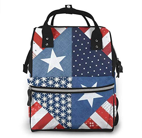 Diaper Bag Backpack Travel Bag Large Multifunction Waterproof New Half Square American Flag Stylish and Durable Nappy Bag for Baby Care School Backpack