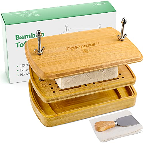 Tofu Press Bamboo, Tofu Presser, Easily Remove Water from Tofu for Better Texture & Flavor, Built in with Water Strainer & Drip Tray, Flax Cloth Filter & Shovel & Tofu Recipes, BPA Free, E-co Friendly