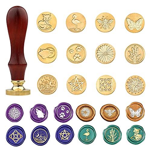 Juego de sellos de cera vintage con caja de regalo, incluye 12 cabezales de cobre y 1 mango de madera para tarjetas de invitación, sobres