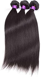 HOHYLLYA ブラジルのストレート人間の髪の毛の束シルキーストレート100%人毛の織り方エクステンションナチュラルブラック複合ヘアレースかつらロールプレイングかつら (色 : 黒, サイズ : 20 inch)