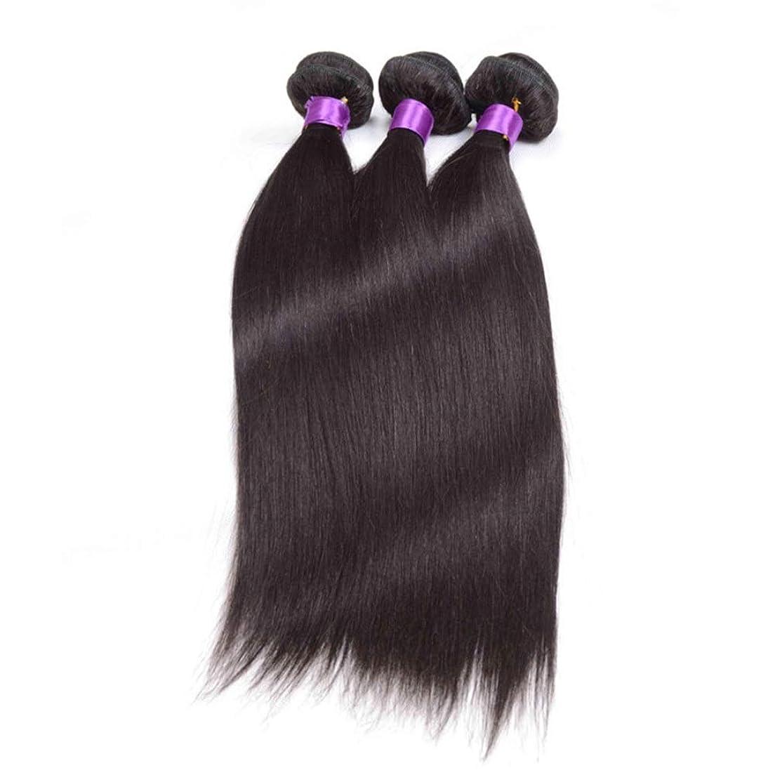 脱臼する統計船上Yrattary ブラジルのストレート人間の髪の毛の束シルキーストレート100%人毛の織り方エクステンションナチュラルブラック複合ヘアレースかつらロールプレイングかつら (色 : 黒, サイズ : 22 inch)