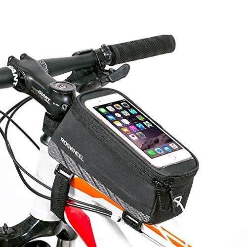 YUYAXBG Fashion Bike Frame Bag Fietstas Grote Ruimte Dubbele Rits Ontwerp Ergonomisch Ontwerp Voor Mobiele Telefoons Onder 5.2/5.7 Inch