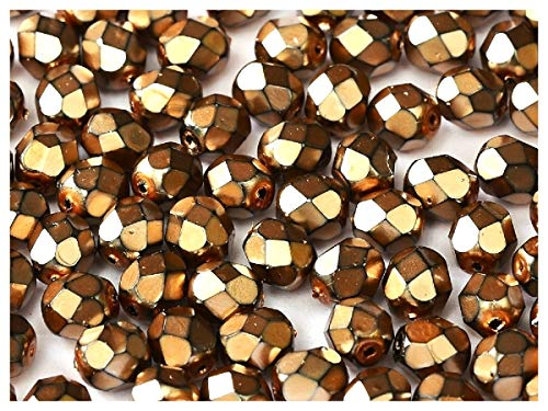 100 piezas, 4 mm, Cuentas de vidrio facetado redondas checo, Fire-Polished, Jet Black/Heavy Metal Beige