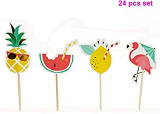 GrantParty Baby Shower 24 Pcs/Set Summer Flamingo Pineapple Watermelon Cupcake Toppers Kids Happy Birthday Theme Cake Decoration Supplies