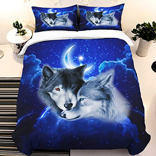 Galaxy Wolf Duvet Cover Sets 3D Animal Galaxy Printed Quilt Cover 3 Pieces Soft Comforter Cover with 2 Pillow Shams Microfiber Bedding Duvet Cover with Zipper Closure Black Queen 90'x90'