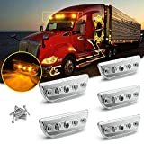 Xotic Tech Clear Lens Chrome Amber LED Roof Clearance Marker Lights Assemblies 5pcs 888-5128 for Kenworth T680 T770 T880 Peterbilt 569