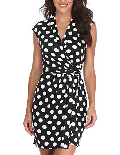 MISS MOLY Vestido de Mujer con Cuello en V Mini Lazo de Lunares Blanco y Negro...