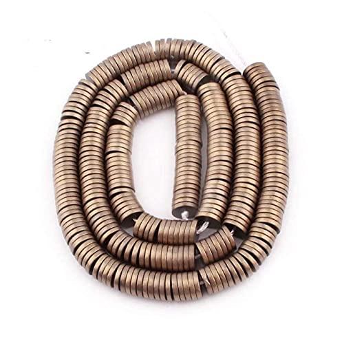 JSJJPLM Ágata Natural 1x6mm Beads Hematite Natural Stone Disc Spacer Bead para Bricolaje Mujeres Hombres Collar Pulsera joyería Que Hace 15' (Color : Light Gold, Item Diameter : 1x6mm Approx 330 Pcs)