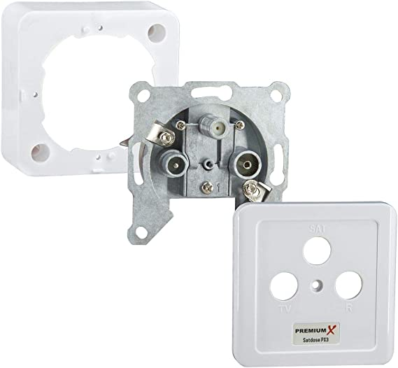 PremiumX toma de antena PX3, toma de 3 vías enchufe de antena, toma de línea simple y recta, montaje en superficie, empotrado, radio de TV por ...
