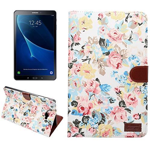 Para Samsung Galaxy Tab A 10.1 / T580 Funda de cuerocon tapa horizontal de superficie de tela de dibujo de florescon ranura de tarjetas & soporte, billetera y marco de fotos ( Color : Blanco )