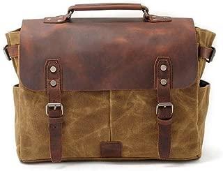 Canvas Leather Notebook Messenger Bag Men's Shoulder Bag Travel Business Travel Leisure Bag (Color : Brown, Size : S)