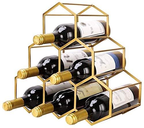 HJXSXHZ366 Estante de vino montado en la pared 6 botellas de vino estante de metal independiente mesa roja vino almacenamiento rack celular pequeño