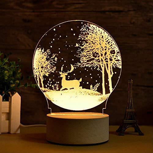 Regalo Lámpara de mesa 3D Personalidad creativa Regalo Luz tridimensional Luz de noche Dormitorio de ahorro de energía Lámpara de mesita de noche Forest Fawn