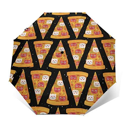 Pizza Cat Funny Automatic Tri-Fold Umbrella Parasol Sun Umbrella Sunshade