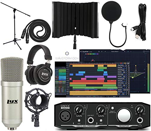 Mackie Onyx Artist 22 Audio/Midi interface With Pro Tools First/Tracktion Music Production Software Studio Bundle with Professional Recording Condenser Microphone and Isolation Shield
