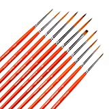 Small Enamel Paint Brushes Set - 11 Pieces Detail Painting Kit for Artists,...