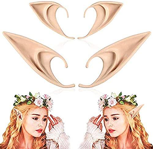 2 paia orecchie da elfo in lattice orecchie da folletto adulto, costume da vestire orecchie da goblin a punta morbida accessori cosplay per accessori cosplay festa di halloween