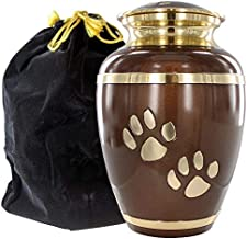 Always Faithful Medium Brown Pet Urns for Dogs Ashes and Cats Too - Find Peace and Comfort with This Quality Dog Or Cat Pet Urn - 6 Inches Tall Holds Remains Up to 42 Lbs - with Velvet Bag