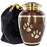 Brown Medium Pet Urn for Dogs Ashes – A Loving Resting Place for Your Special Dog or Cat – for Medium Pets up to 42 Pounds
