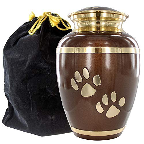 Brown Large Pet Urn for Dogs Ashes – A Loving Resting Place for Your Special Dog or Cat – for Large Pets up to 122 Pounds