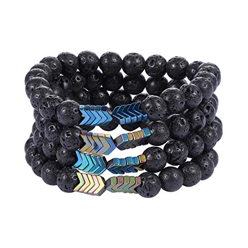 KY Jewelry-Buddhist prayer beads Lava Rock Aromatherapy Anxiety Essential Oil Diffuser Bracelet Set for Women Men