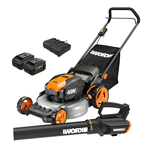WORX WG960 20-inch 40V(5.0Ah) WG751 Cordless Lawn Mower and WG547.9 Power Share...