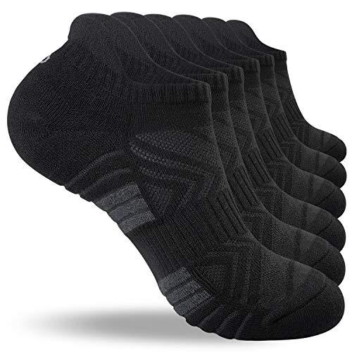 Lapulas Socken Herren Damen, 6 Paar Sneaker Socken Baumwolle Sportsocken Outdoor Laufsocken mit Frotteesohle Bequemere und Atmungsaktive (schwarz mit dicken Streifen, 43-46)