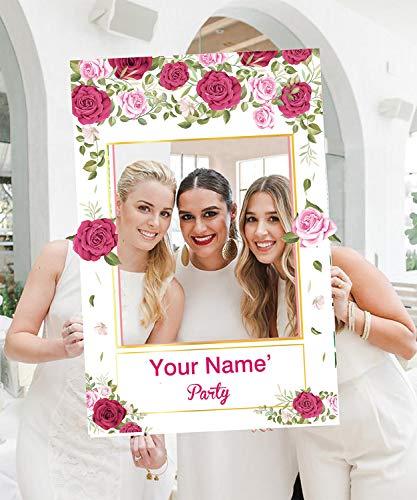 2 in 1 Personalisiert Brautdusche Photo Booth Frame,Double Side Rose Blume Foto Requisiten Photobooth Hochzeit Selfie Valentines Day Babyshower personalisierte Dekorationen