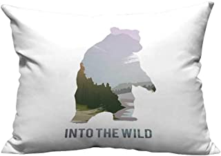 RuppertTextile Square Pillowcase Wild Animals of Canada Survival in The Wild Theme Hunting Camping Trip Outdoors Protect The waistW14 x L14
