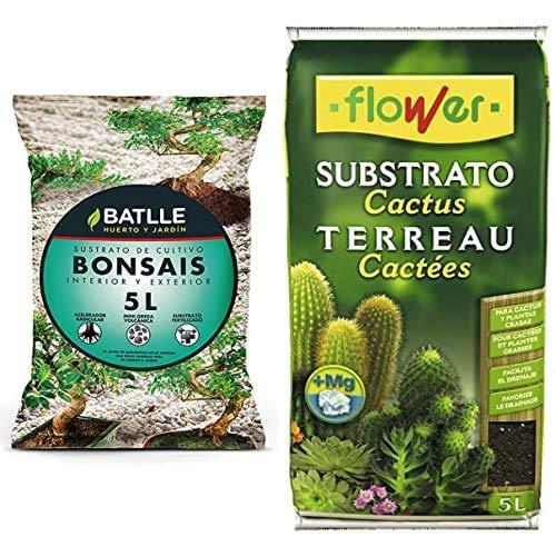 Oferta de Sustratos - Sustrato Bonsais 5L. - Batlle + Flower 80016 Substrato Bonsáis, 5L, Marrón, 23X4X40 Cm